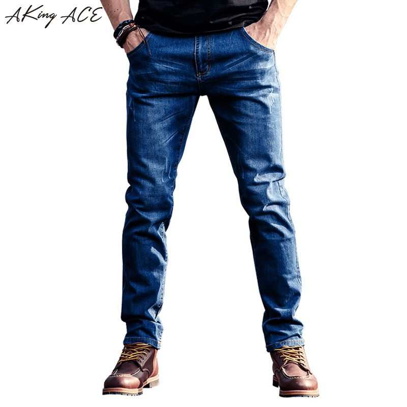 2017 AKing ACE New Arrival Men's Jeans Slim straight Blue denim jeans men casual ripped jean fashion pants 28-36, ZA253
