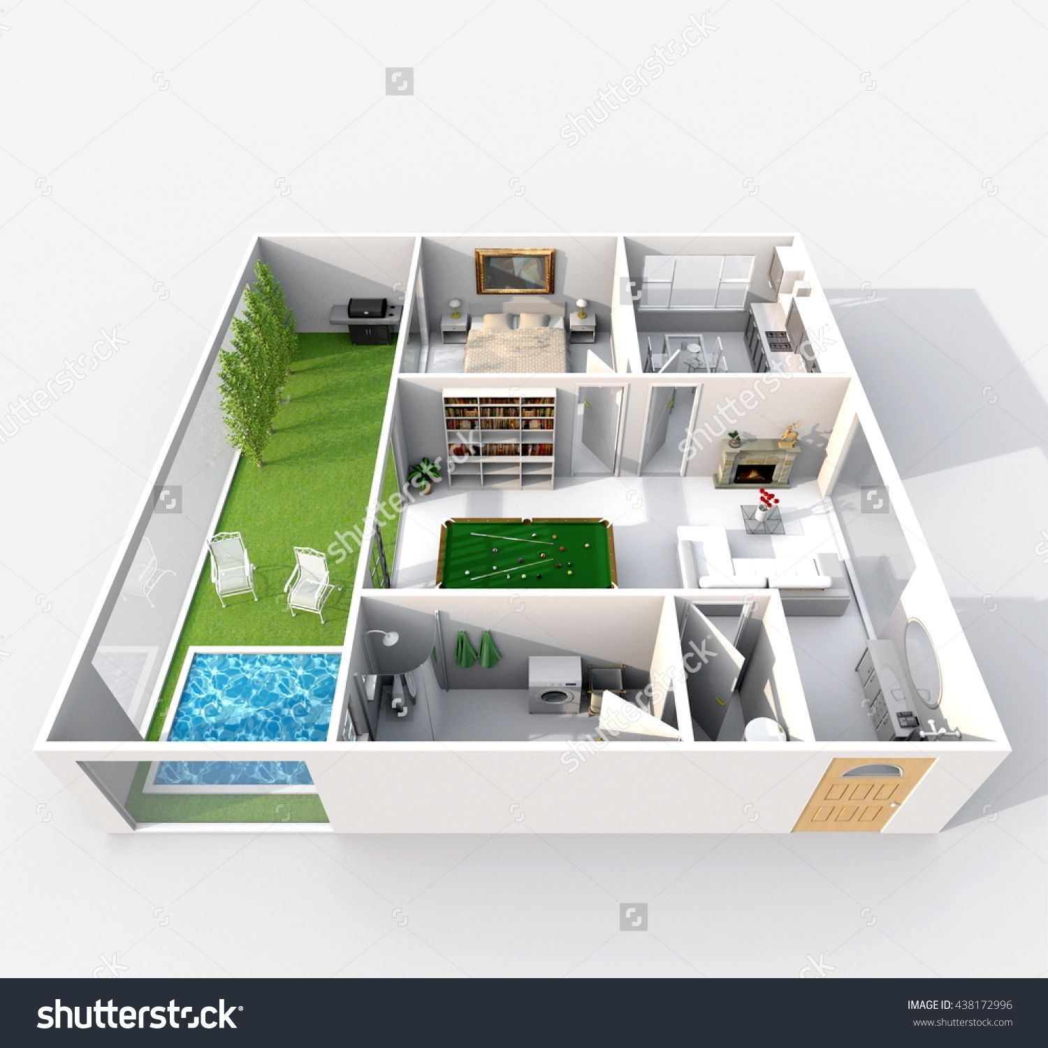 3d interior rendering perspective view of furnished home apartment with green patio and swimming pool: room, bathroom, bedroom, kitchen, living-room, hall, entrance, door, window,