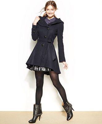 7c9db025cee Steve Madden Hooded Textured High-Low Coat - Juniors Coats - Macy's ...