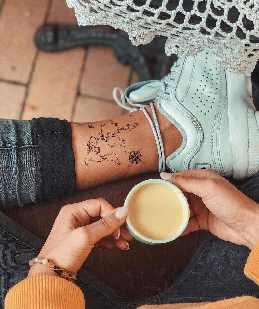 Carte du monde tatouage temporaire / avion flash tattoo / poignet tatouage pour les voyageurs / vent Compass rose / Wanderlust Couple tatouage Set