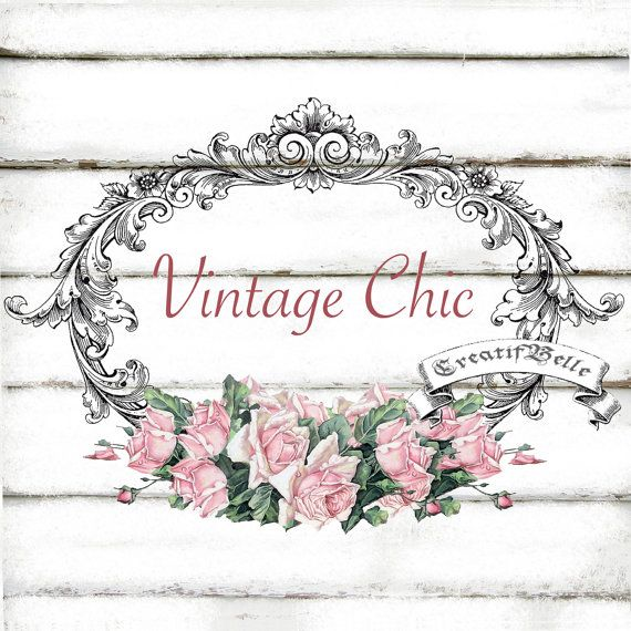 Vintage Shabby Chic Frame Roses Large A4 Instant by CreatifBelle ...
