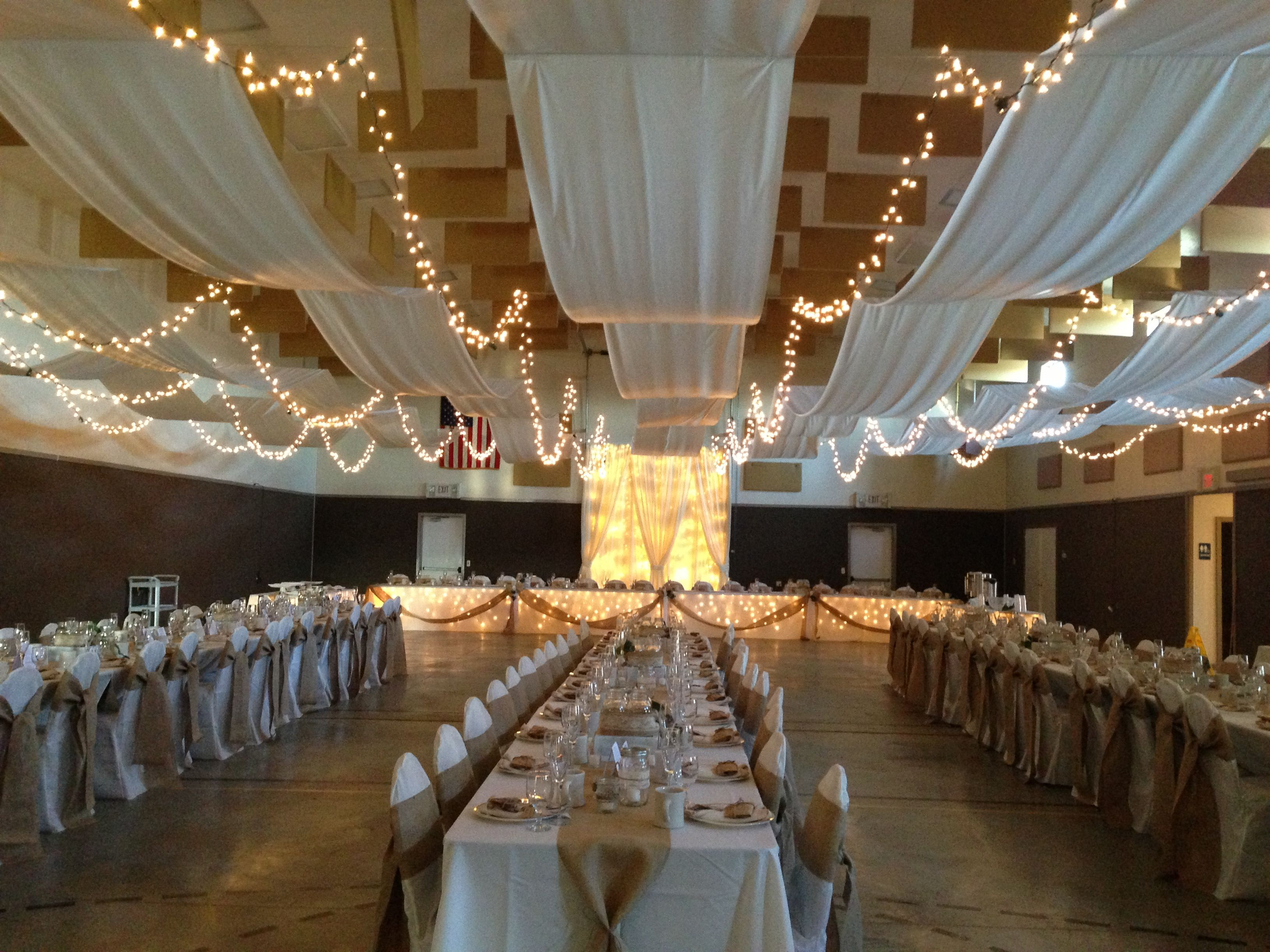 Church Gym Wedding Decor Draped Ceiling Rustic We Drilled