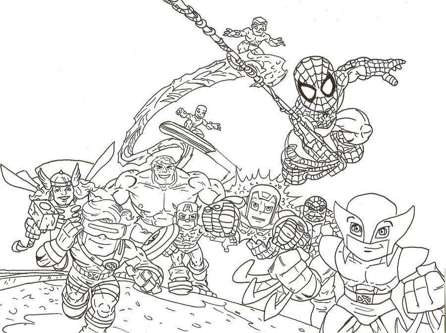 SuperHero_Squad_by_predator_fan.jpg (900×672) | LineArt: Super Hero ...