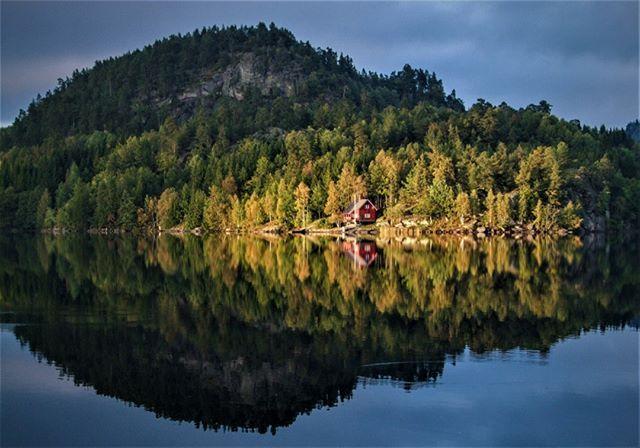 Hallevannet, Norway . . .  #lake #visitnorway #fiske #fishing #landscapesofnorway #hallevannet #hytte #cabin #lago #cabaña #larvik #norskfriluftsliv #visitvestfold #norge #norway #reflection #ig_reflections #autumn #høst #otoño #fujilove #travel #travelphotography #hiking #tur #folkgreen #visitvestfold #folkscenery #lastingvisuals