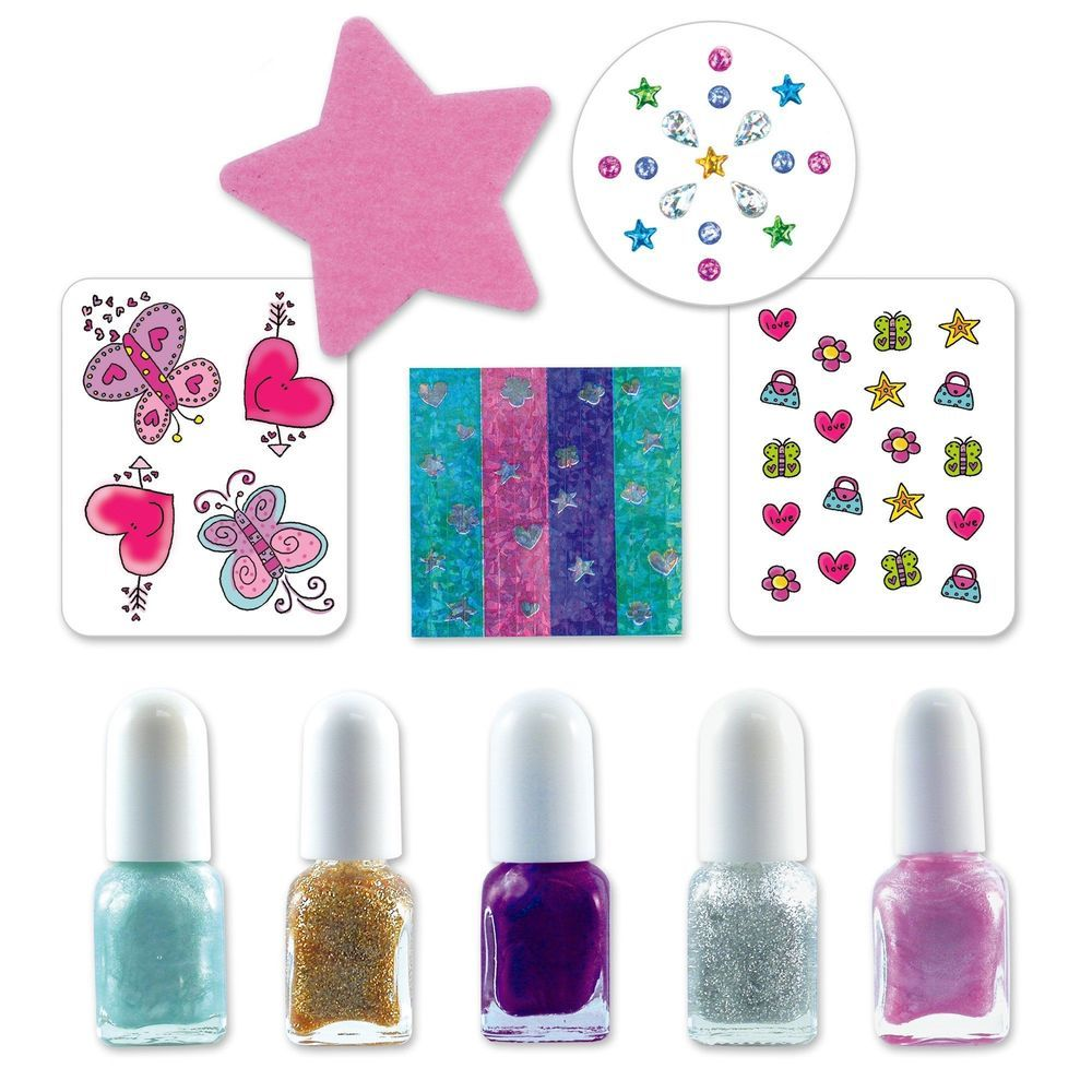Nail Art Kit Varnish Colorful Glitter Gems Tattoos Girls Children ...