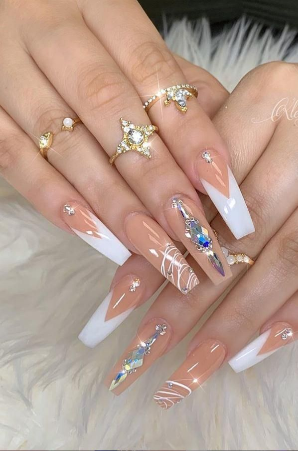 41 Kinds Long Coffin Gold Nail, More Suitable For Valentine's Day - Lily Fashion Style