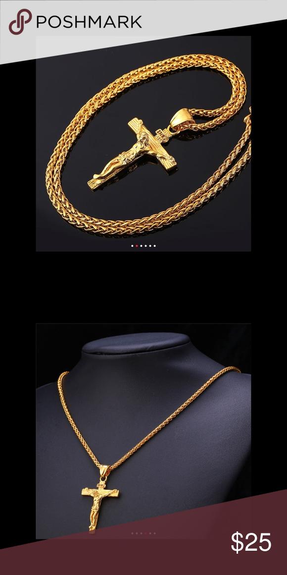 New 18k Gold Cross Necklace For Men Women Gold Chains For Men Gold Cross Necklace Cross Necklace Silver