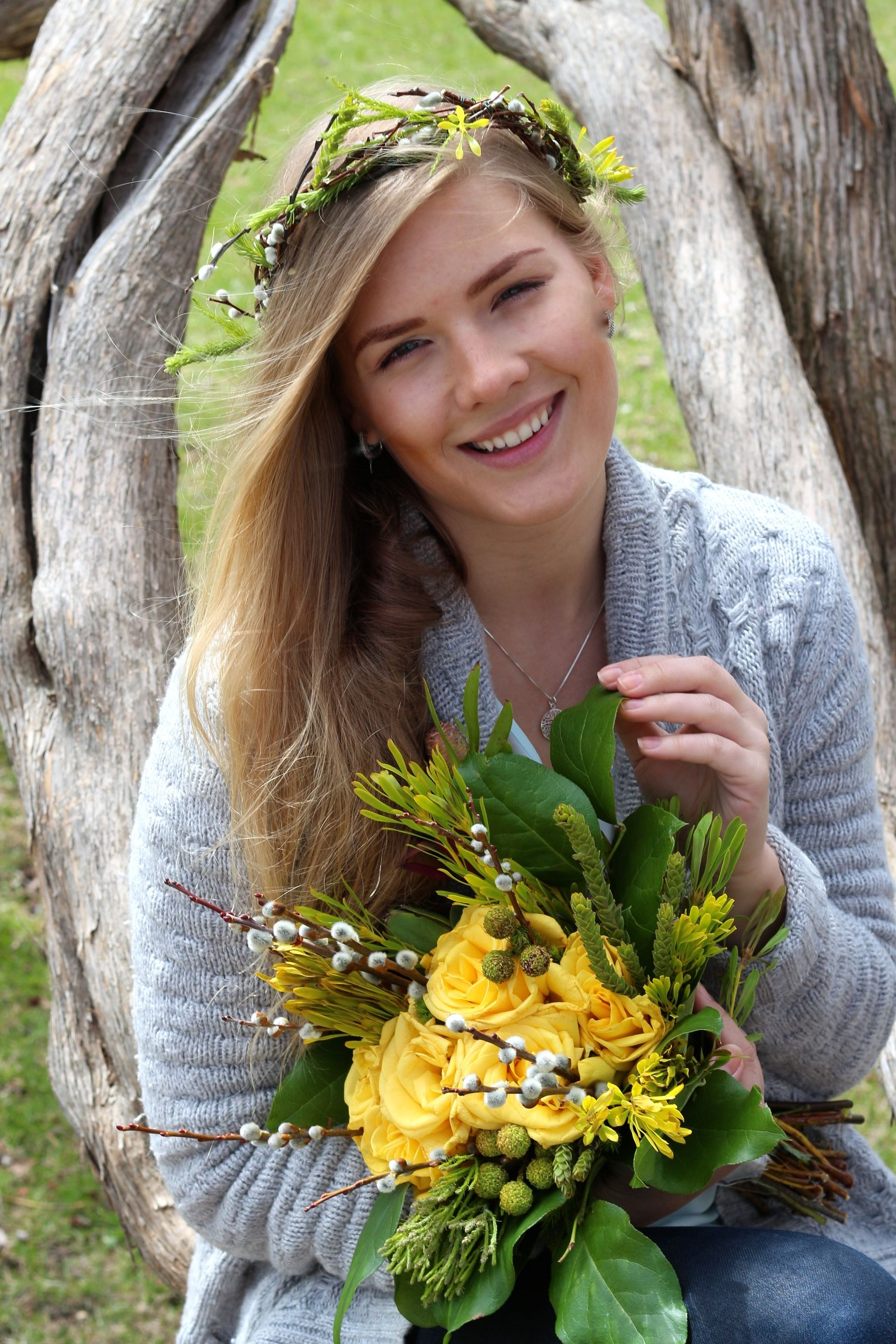 Matching Bouquet and Flower Crown, Vibrant Yellow Mix  for Spring