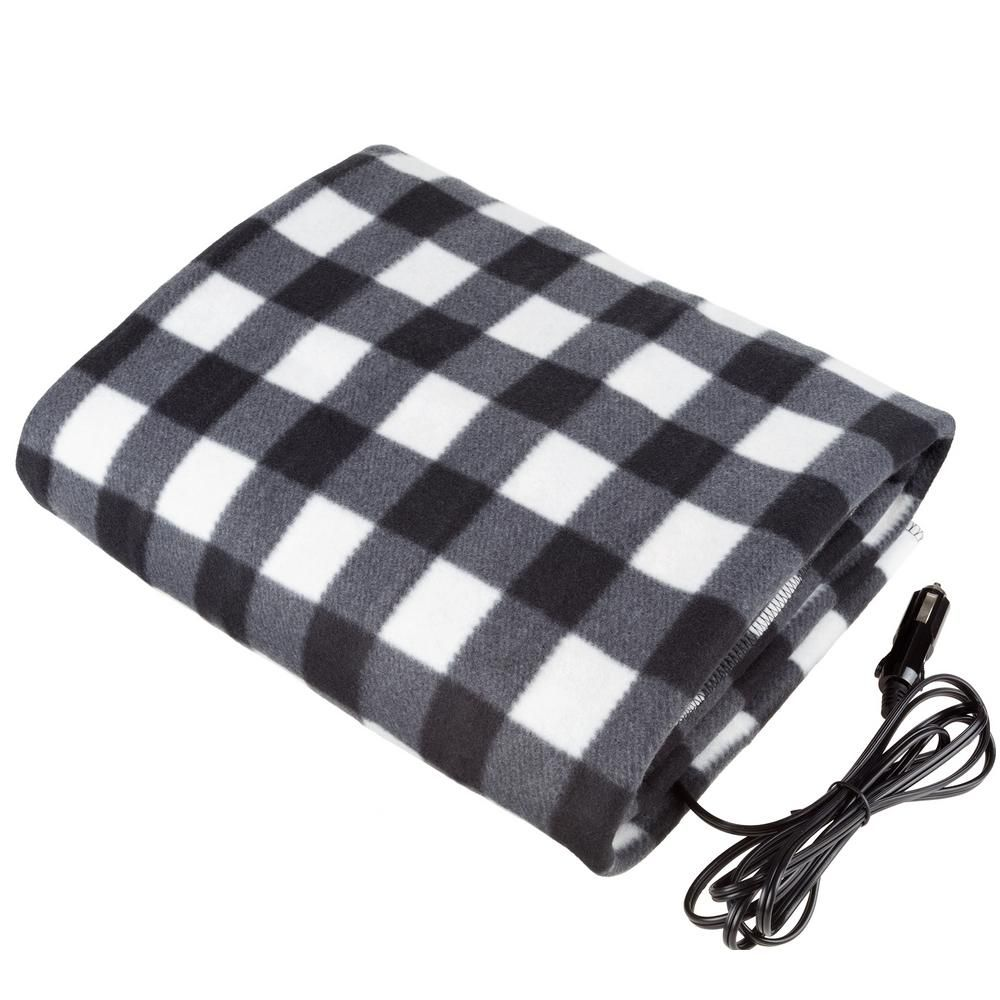 Missbee Electric Heating Blanket 12V Lattice Fleece Car Supplies Winter Hot Car Constant Temperature Heating Blanket for Travel Camping Picnic Heater 145x100cm