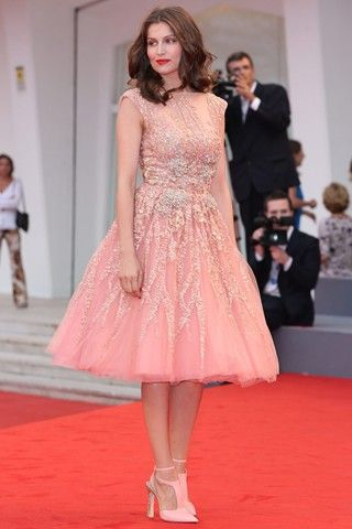 Laetitia Casta at the Venice Film Festival for the premier of 'The Master'. We think pale pink is such a pretty alternative for brides who won't want to wear white!