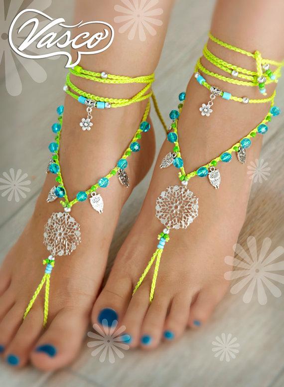 Mandala Barefoot Sandal, Owls, Neon Gypsy Sandals #gypsy