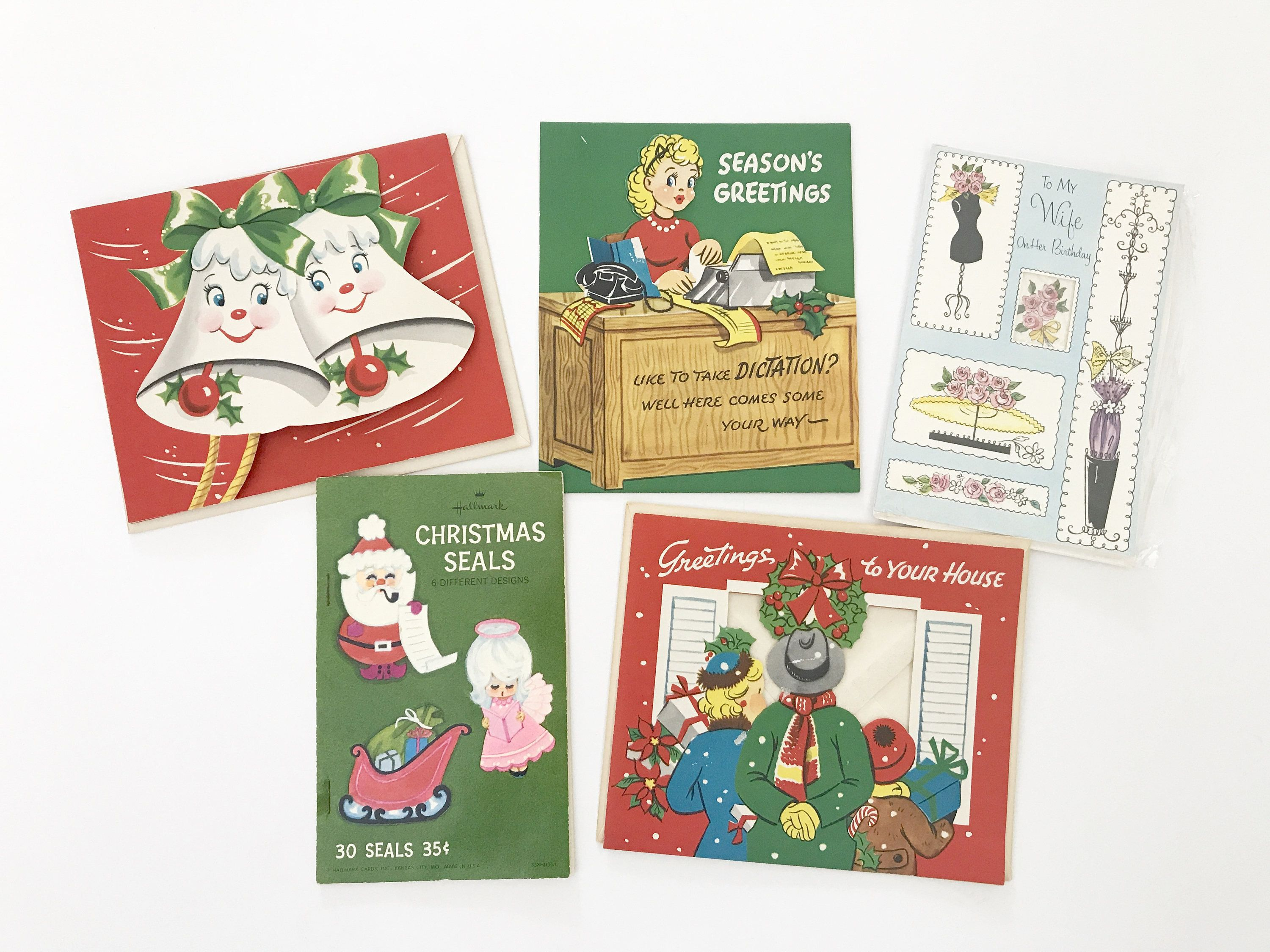 LOT of FIVE Vintage Christmas Cards Birthday Card Wife Holiday Seals ...