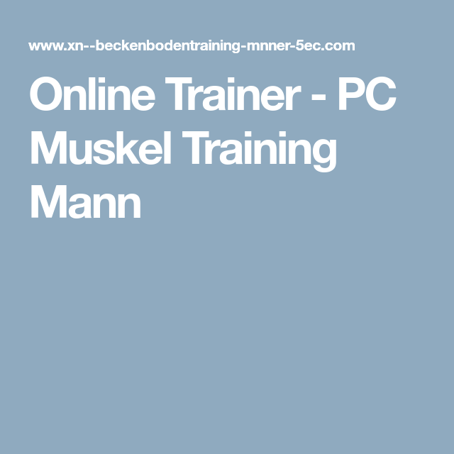 Training pc mann muskel PC