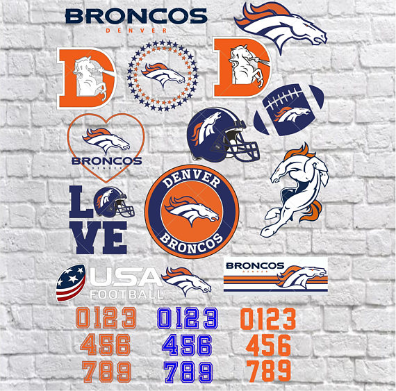 17 Denver Broncos SVG files, Silhouette files, CriCut