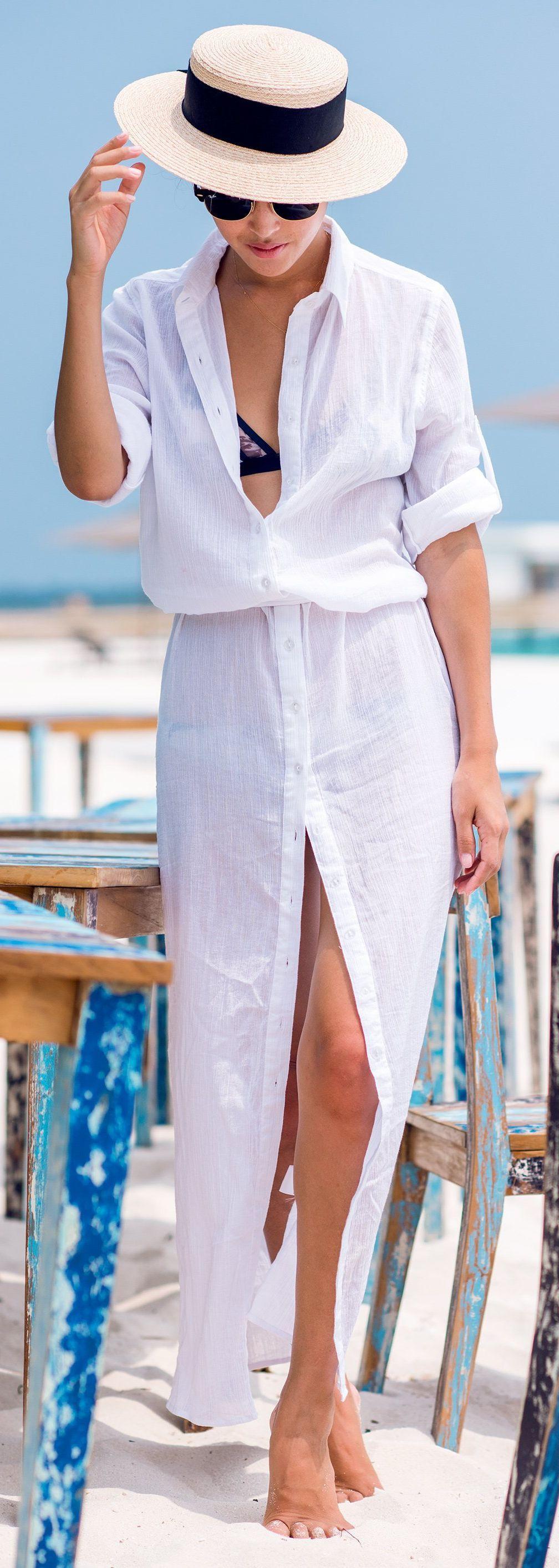 Resultado de imagem para shirt dress para levar a praia