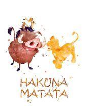 Hakuna Matata Print Lion King Wall Art Pumbaa Timon Simba The King of …