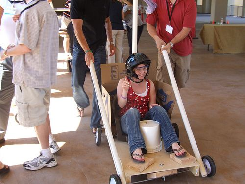 Testing Out A Race Car Made From Materials Like PVC Pipe Cardboard Duct Tape