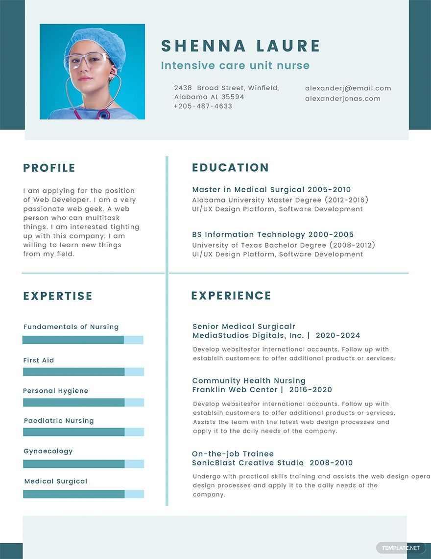 Free Nursing Student CV Template #nursingstudents