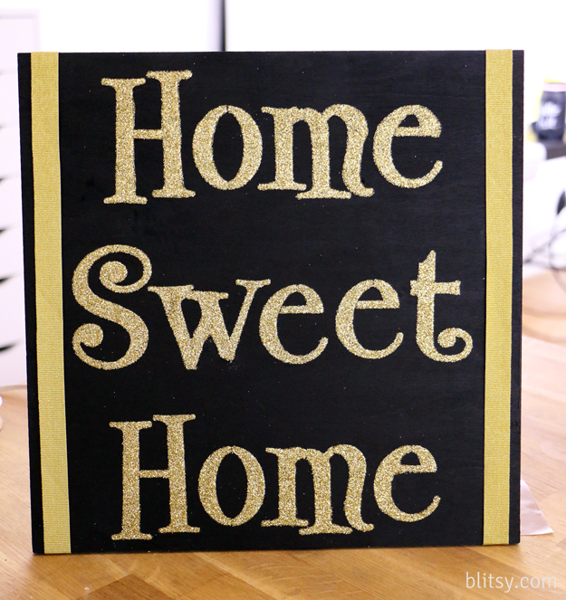 Ditch the glue and use a different medium on your stencils! Add decoupage glue over your stencil and cover with glitter, let dry, shake off excess glitter and you have a gorgeous way to welcome any guests! Get your discount craft supplies at blitsy.com