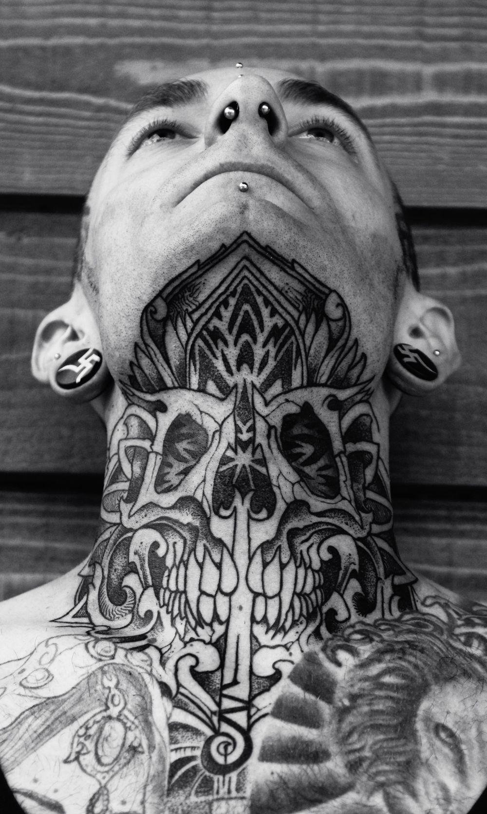 Skull Mandala neck piece Neck tattoo for guys, Tribal
