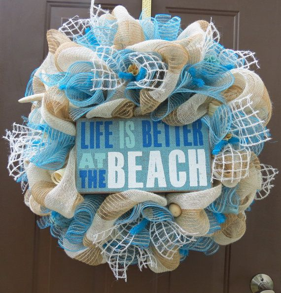 Beach Deco Mesh Wreath, Summer Deco Mesh Wreath, Beach Burlap Wreath, Summer Burlap Wreath, Beach Wreath, Summer Wreath on Etsy, $90.00