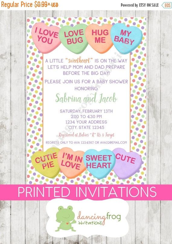 Sale valentines baby shower invitation conversation hearts sale valentines baby shower invitation conversation hearts printed valentines baby shower invitation by dancing stopboris Choice Image