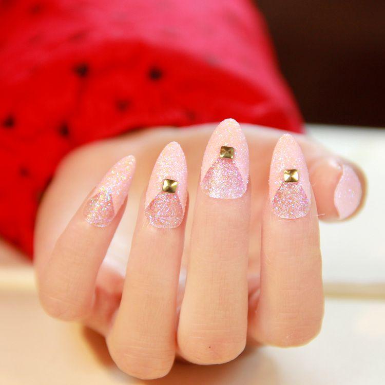 New 2014 wedding elegant Glitter Pink fake nail,French rivet decor ...