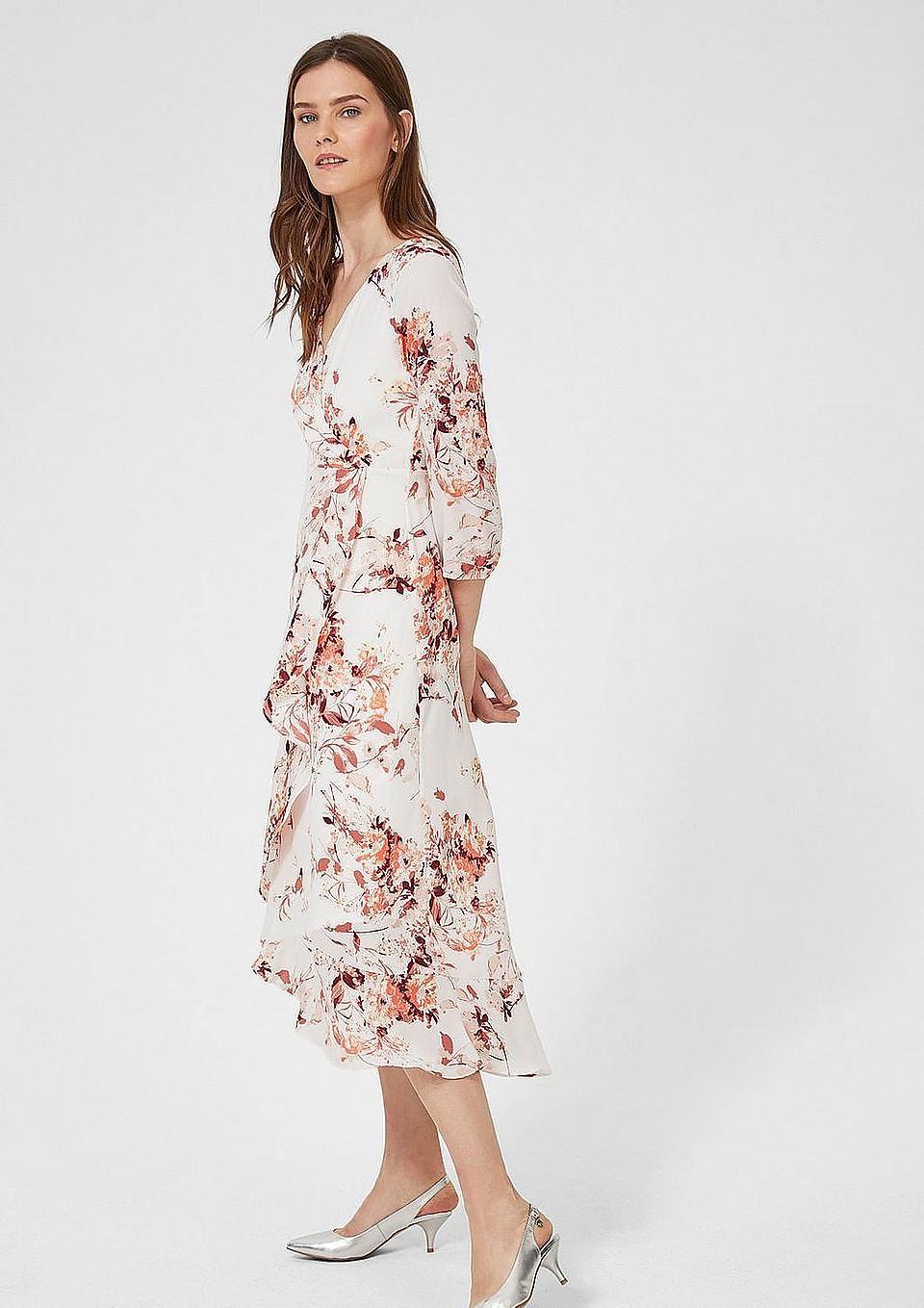 s.Oliver BLACK LABEL Geblümtes Kleid mit Volant-Layer  Kleider