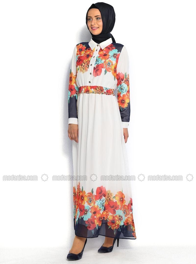 Turkish abaya dress, this print is very on trend-Çiçek Detaylı Elbise - Krem - Butik NeşeÇiçek Desenli Elbise - Beyaz-Lacivert - Eslem Elbise