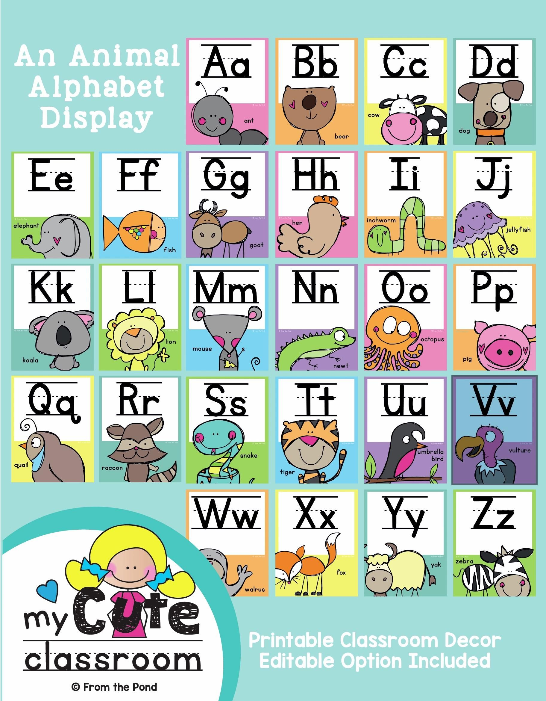 Create a gorgeous happy classroom with our printable alphabet posters. Editable version included. Available in our TpT store From the Pond