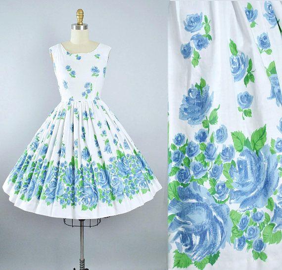Vintage 50s ROSE Print Dress / 1950s Cotton Sundress Oversize