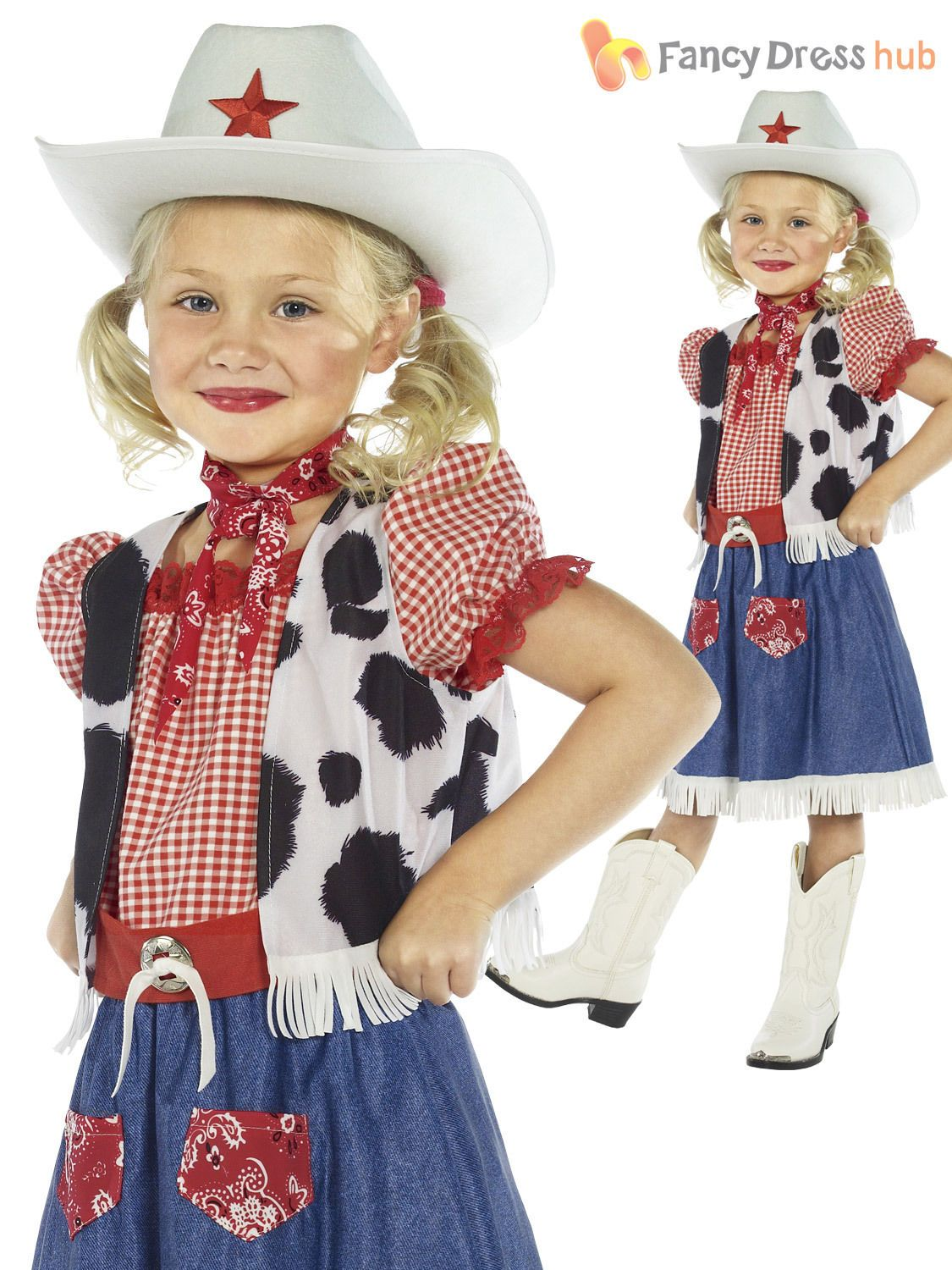 Cowgirl Hat Girls Fancy Dress Wild Western Cowboy Kids Childs Costume Outfit