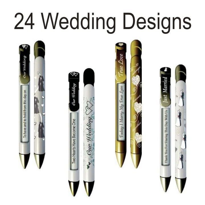 Wedding Attendants Gifts: Rotating Message Pen Personalized Wedding Favors