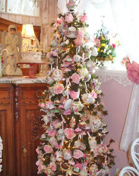 high tea Christmas tree with pink roses, teapots and tea cups