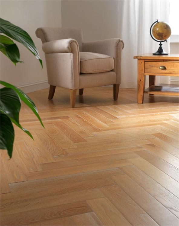10.5mm Herringbone Parquet Engineered Limed Oak Floor