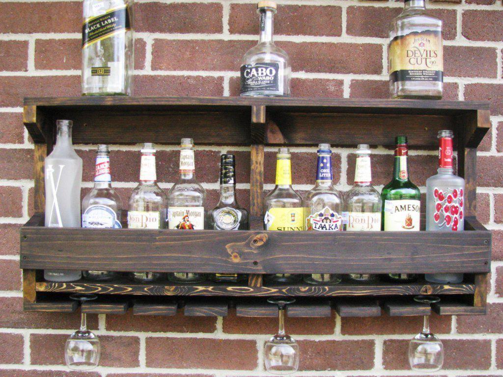 Image of wall mount diy built in minibar designs around for Diy liquor bar