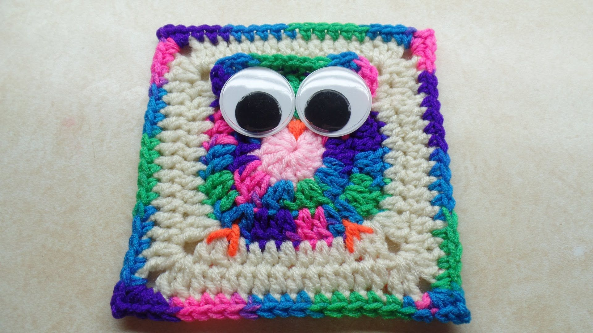 Video Tutorial] Cute Owl Granny Square With Big Googly Eyes ...