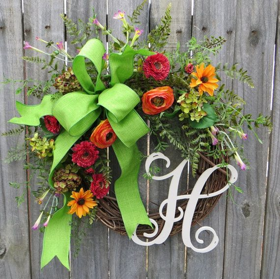 Photo of Wreath with Monogram, Wildflower Wreath, Summer and Spring Wreath, Colorful Mixed Flowers, Wreath with Letter, Personalized Wreath