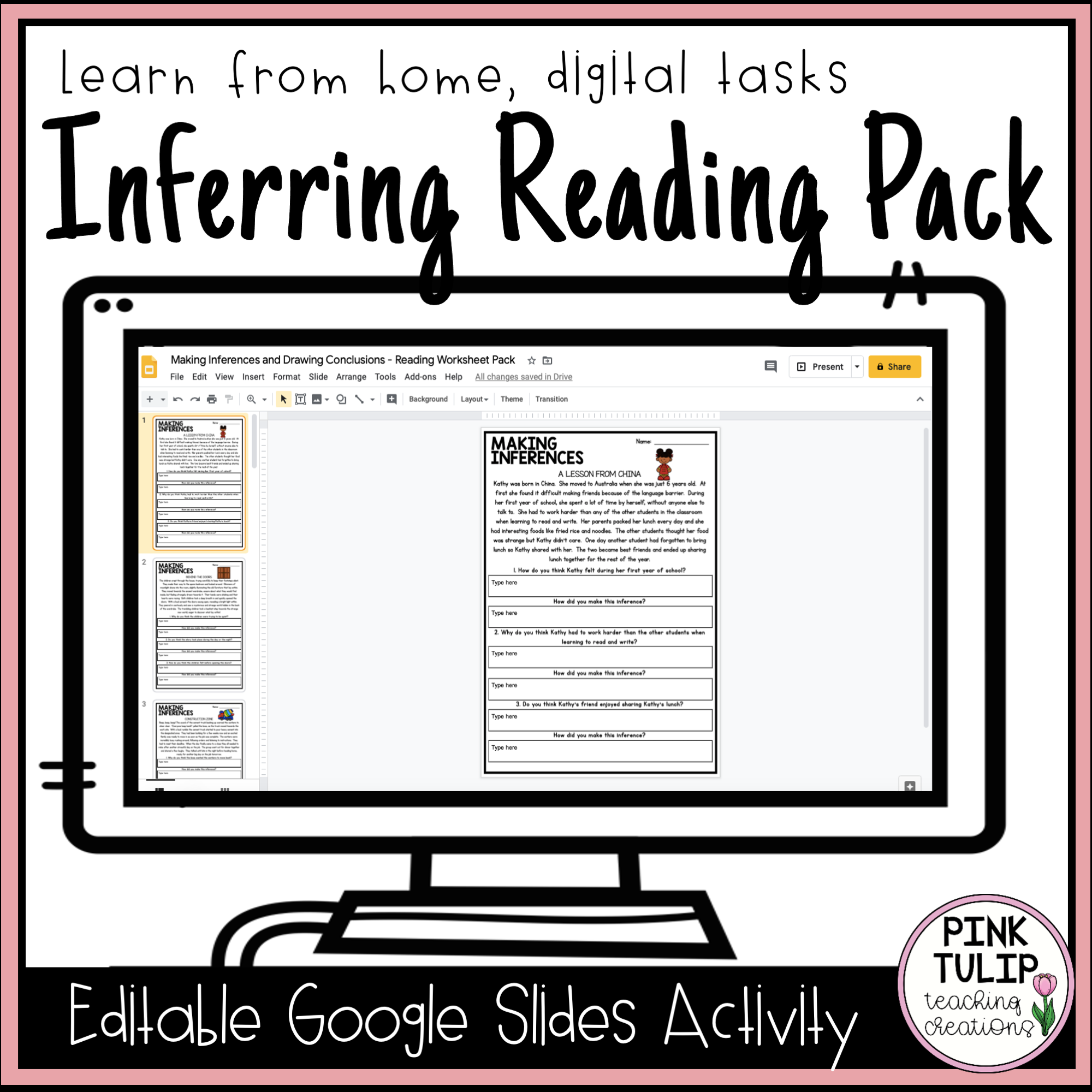 Inferring Reading Worksheet Pack Google Slides Distance Learning Reading Worksheets Inference Reading Classroom [ 2000 x 2000 Pixel ]