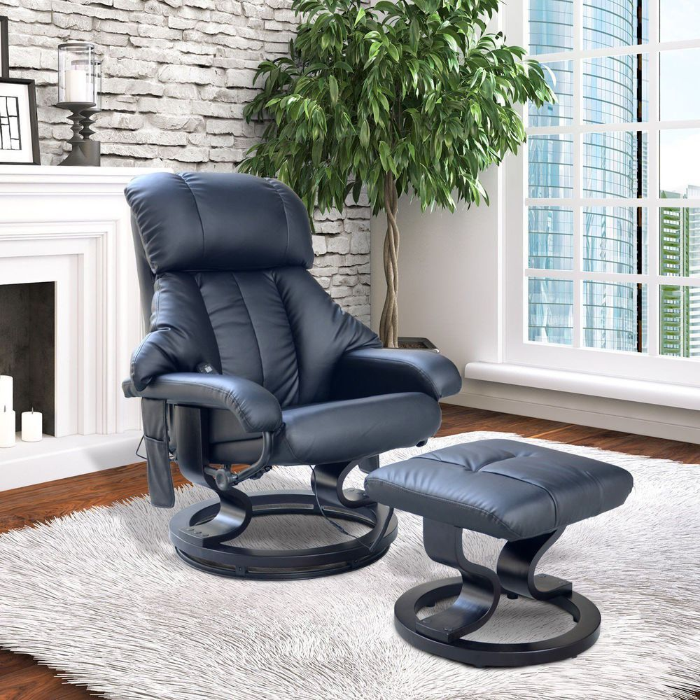 Black Recliner Massage Armchair Leather Remote Controlled Living