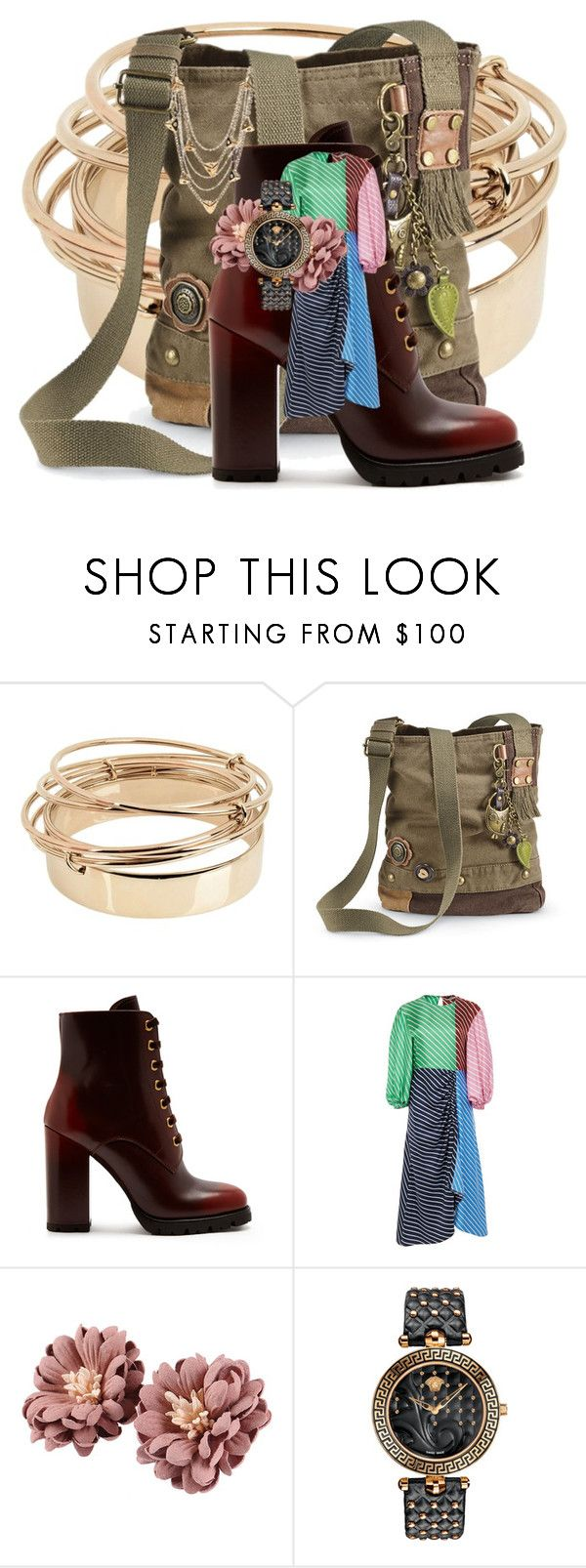Gold bracelet u great boots for boho colorful stripes versace