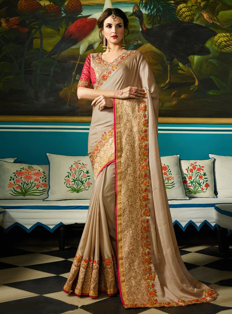 e8e82d863e Buy Beige Silk Saree With Blouse 120881 with blouse online at lowest price  from vast collection of sarees at m.indianclothstore.c.