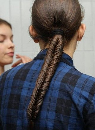 Hairstyles For School Girls - Low Fishtail Braided Ponytail