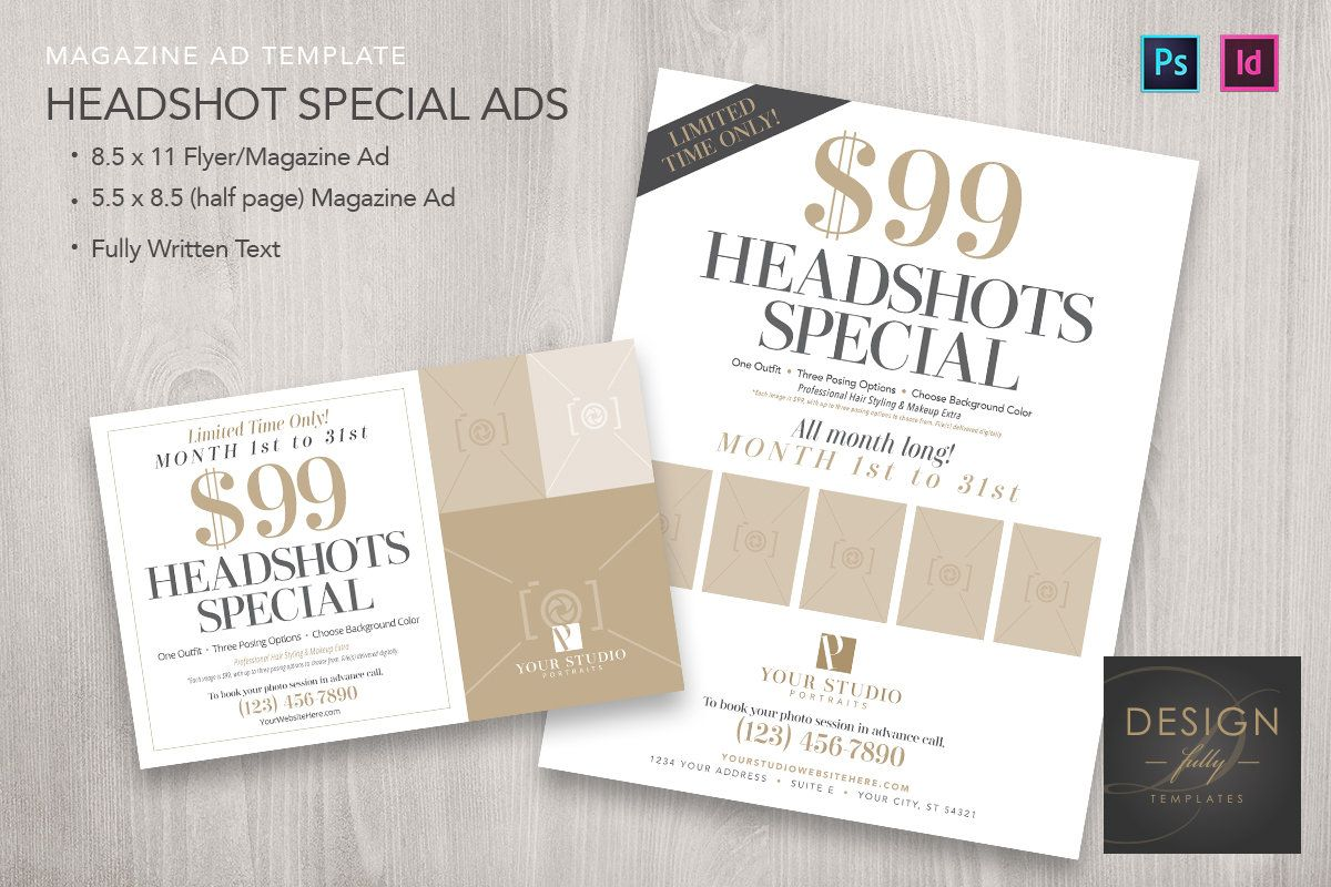 Headshots Special Magazine Ads 2 Sizes Template For Id Cs4up