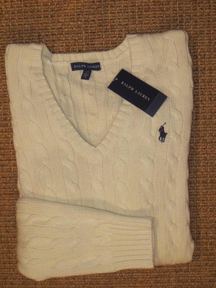 e2d12716e1 POLO RALPH LAUREN WOMEN S SWEATER V - NECK CABLE KNIT LARGE BEIGE   CREAM  NEW  PoloRalphLauren  VNeck