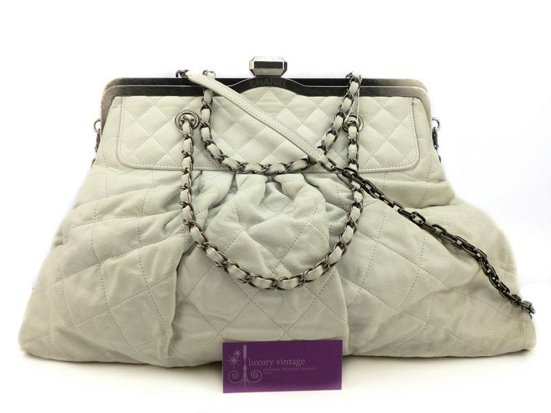 Chanel 2way Bag White Colour Calfskin With Ruthenium Hardware Good Condition Ref Code Kyrl 1 Chanel Collection Chanel Brand French Fashion Designers