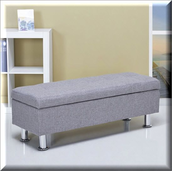 Storage Ottoman Bench Ash Modern Seat Living Room Furniture Footstool Table