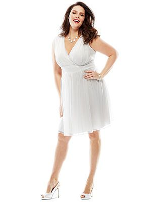The Dress Diaries Plus Size Sleeveless A Line Little White Dress