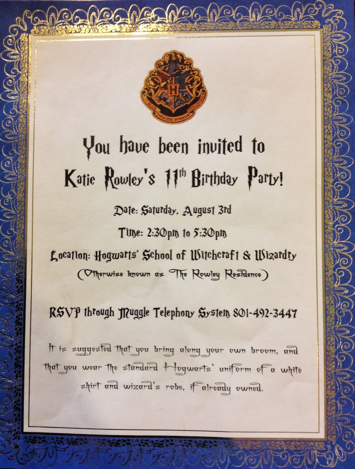 Puddle Wonderful Learning Harry Potter Birthday Party Invitations And Costumes