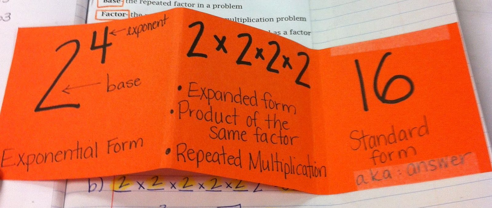 exponents foldable and math language i might include equal signs